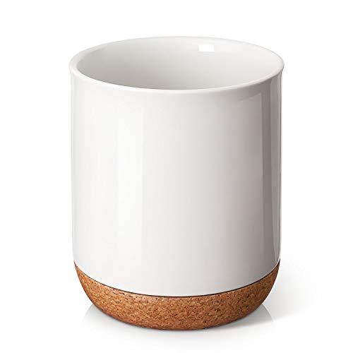 DOWAN Kitchen Utensil Holder, 7.2″ Large Utensil Crock, Table-Protection Cork Mat, Heavy and Stable Ceramic, No Wobbling…
