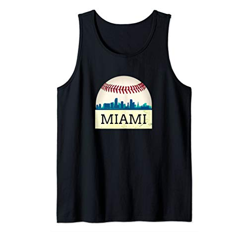 (Miami Baseball Tshirt Cool Marlin Skyline on Giant Ball Tank Top )