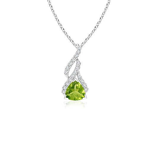(Trillion Peridot Solitaire Pendant with Diamond Swirl in 14K White Gold (5mm Peridot))