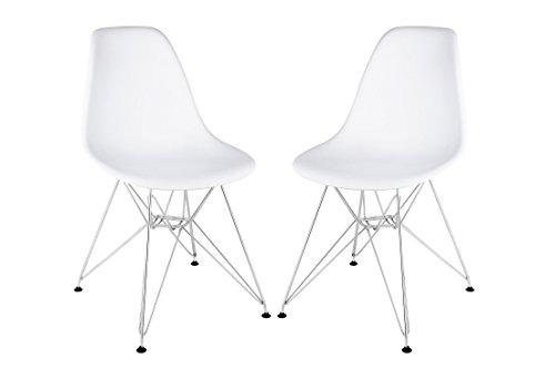 Stram Mid Century Modern Side Chair, White, Set of 2 (Chrome Base)