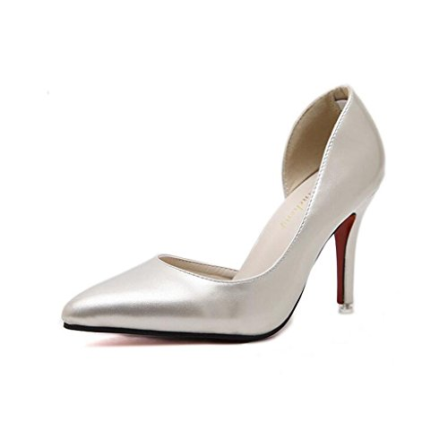 Sandals CJC High-Heeled Baotou High Heels Thin High Heels Elegant Shallow Mouth Simple Sexy Banquet Fashion Nightclub Gold D7RmyPH7Z