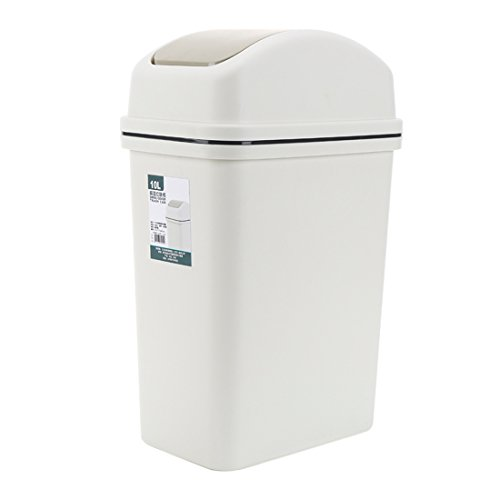 Lingxuinfo 10L Trash Can Wastebasket Waste Bin Trash Bin Waste Paper Basket Dustbin Garbage Can with Lid for Home, Kitchen, Office - Grey by Lingxuinfo