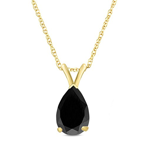 9x6MM Pear Shaped Black Onyx Pendant 18