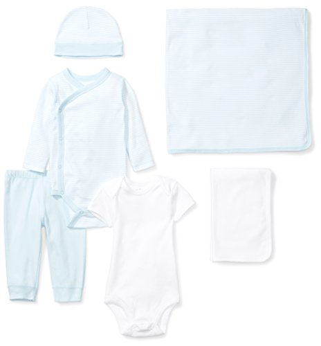 Moon and Back Baby 6-Piece Organic Playtime Gift Set, Blue Sky, 3-6 Months