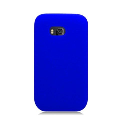 Bundle Accessory For Verizon Nokia Lumia 822 - Blue Silicon Skin Case Protective Cover + Lf Stylus Pen + Lf Screen Wiper ()