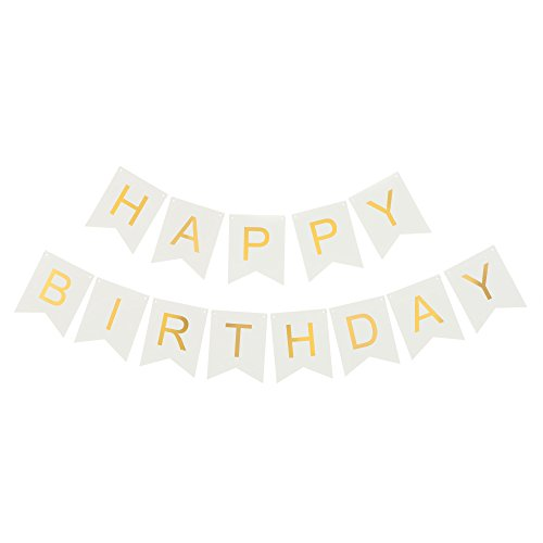 Happy Birthday Banner White & Gold Party Decorations Supplies Ideas (White with Gold) - White Party Ideas