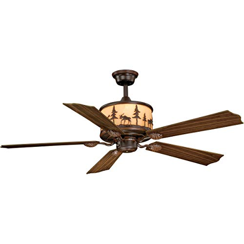 Indoor Ceiling Fans Light Fixtures with Burnished Bronze Tone Finish Steel Material Size 56