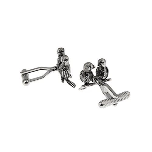 Lovebirds 2 Birds Black Cufflinks Cuff Links by Vcufflinks (Image #2)