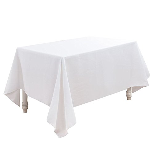 LINENNEE Basketweave Tight Easy Care Elegant Tablecloth 52 x 70-Inch Rectangular Polyester with Miter Corners, White ()