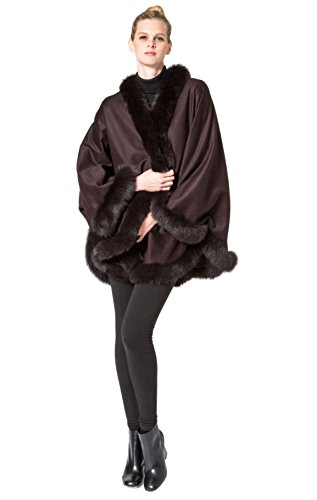 Cashmere Pashmina Group: Cashmere Cape with genuine Fox Fur Trim all around - Coffee