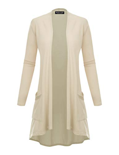 BH B.I.L.Y USA Women's New Open Front Long Sleeve Terry Rayon Cardigan Ivory - Cashmere Ivory Sweater