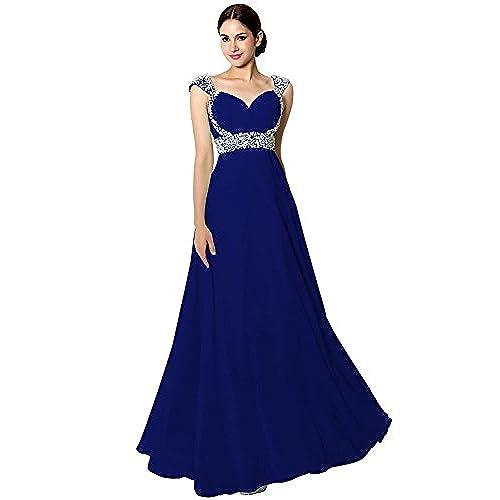 Sarahbridal Senior Prom Dresses Long Chiffon Ball Bridesmaid Gowns Beading Royal Blue US24W