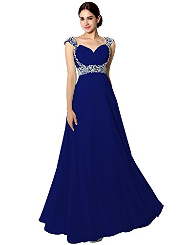 Sarahbridal Senior Prom Dresses Long Chiffon Ball Bridesmaid Gowns Beading Royal Blue US18