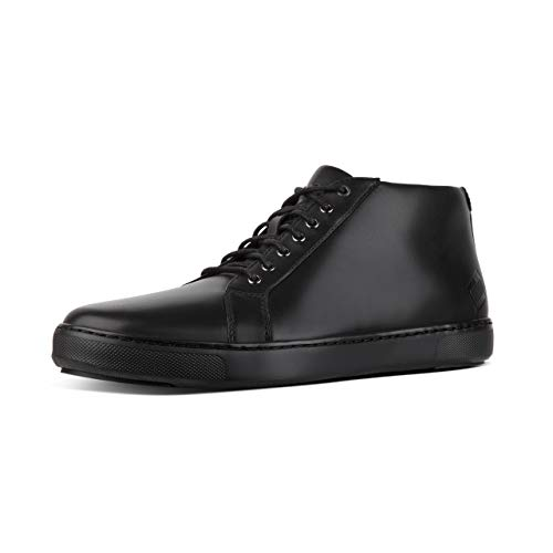 FitFlop Men's Andor Tumbled Leather High-Top Sneakers Black 8