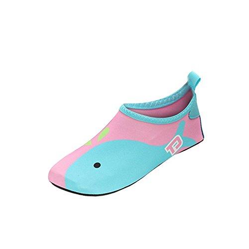 iBaste Wassersportschuhe Kinder Wasserschuhe Strandschuhe Badeschuhe Surfschuhe Tanzschuhe Aquaschuhe für Jungen und Herren Rutschfeste Gummisohle Super leicht und Sehr gut gedämpft Pink