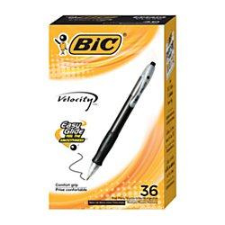 BIC(R) Velocity(TM) Retractable Ballpoint Pens, Medium Point, 1.0 mm, Black Barrels, Black Ink, Pack Of 36