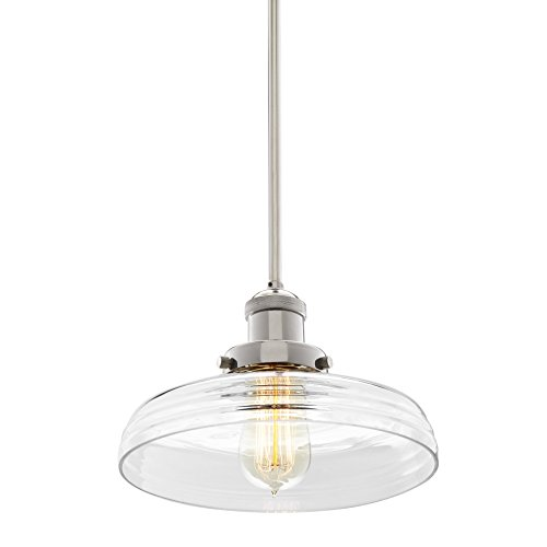 Polished Nickel Clermont Pendant Light with 10-inch Clear Glass Shade, Adjustable Hanging Height, Integrated Slope Ceiling Adapter, Modern Industrial Mini Farmhouse Kitchen Lamp, UL & CUL Listed