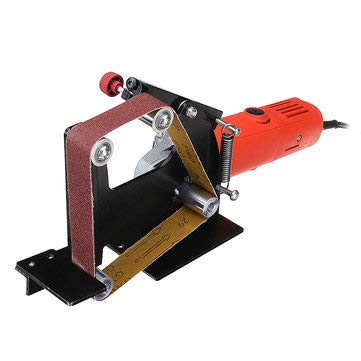 Angle Grinder Belt Sander Attachment Metal Wood Sanding Belt Adapter Use 100 Angle Grinder - Tool Parts Angle Grinder Parts - 1 x Belt Sander Attachment, 1 x M10 Adapter, 5 x Sanding Belts