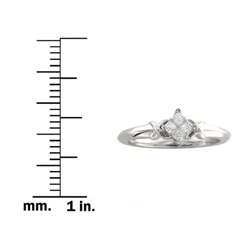 10k White Gold Princess cut Diamond Promise Ring (1/5 cttw, I J, I2 I3)