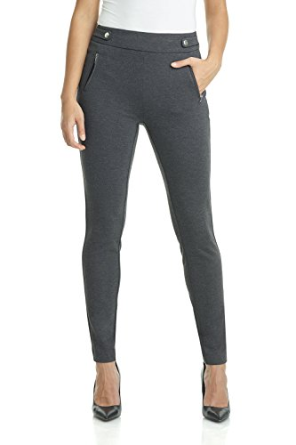 Rekucci Women's Secret Figure Pull-On Knit Skinny Pant (4,DK Charcoal)