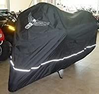 """Premium High Quality Motorcycle Cover, Fits up to 108"""" length Large cruiser, Tourer, Chopper. includes Cable & Lock - Eagle Logo"""