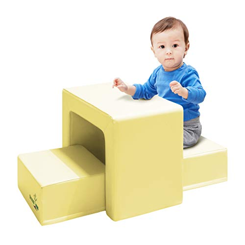 Foam Stool Set - Dream Tree Toddler Table and Chair Set (Stool Type) Washable, Safe Non-Toxic CPSIA Compliant Soft Foam Furniture for Baby, Kids, and Child - Yellow