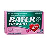 Bayer Chewable Low Dose Baby Aspirin Cherry Flavor 36 Tablets - 2 Pack