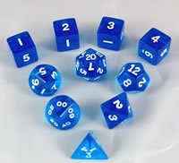 Blue Transparent Polyhedral Dice Set 10pc Set in (Dice Set 10pc Set In Tube)