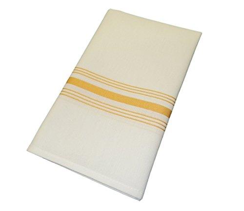 [Gold Milliken Signature Stripe Bistro Napkins - Set of 12] (Milliken Linens Supply)