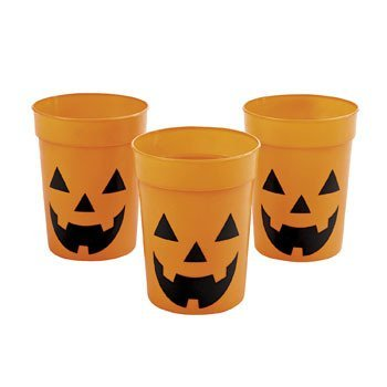 12 Halloween Jack O Lantern PARTY cups - Sturdy and reusable