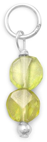 Sterling Silver Charm, 4.5mm Peridot Coin Beads, 3/8 inch, August - Sterling Charm Peridot Silver