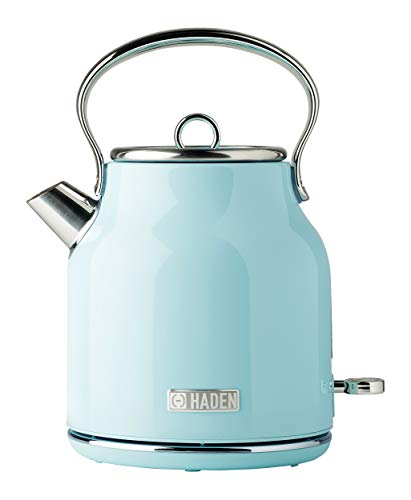 Haden HERITAGE 1.7 Liter Stainless Steel Retro Electric Kettle with Auto Shut-Off and Boil Dry Protection in Light Blue Turquoise