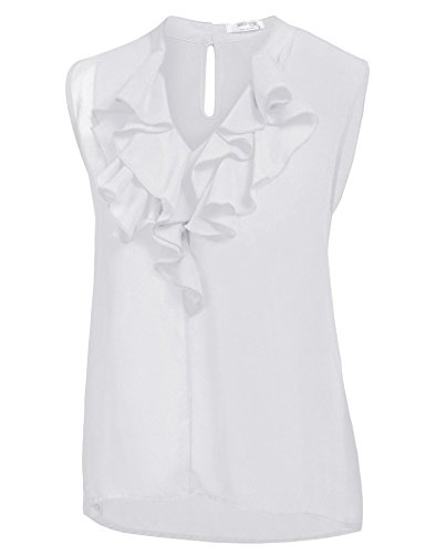 Pinspark Women Flowy V Neck Tank Top Sleeveless Ruffle Office Chiffon Blouse Shirt White