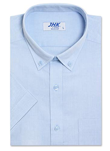 (Men's Regular-Fit Oxford Short Sleeve Dress Shirt, SkyBlue Shirts (2XL))
