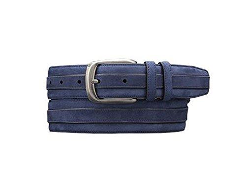 Mezlan Mens Handsome Suede & Calf Trimmed Belt, BLUE, 38 (AO9645) (Mezlan Suede Belt)