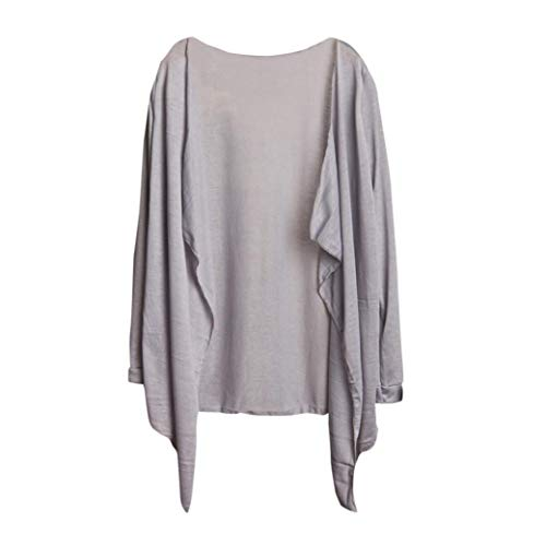 GOVOW Women Cotton Casual Soft Long Thin Cardigan Modal Sun Protection Clothing Tops Gray