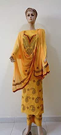 Chicken Suit Yellow Festive Kameez & Salwar Set For Women
