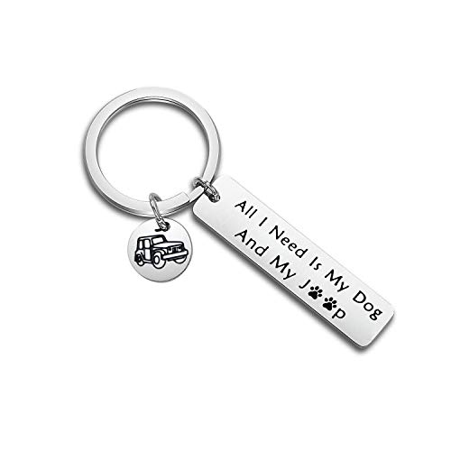 PLITI Jeep Dog Lover Gift Jeep Dog Jeep Mom Dad Life Keychain All I Need is My Dog and My Jeep Dog Jeep Wave Paw Print Keyring (All i Need Jeep Dog Key)