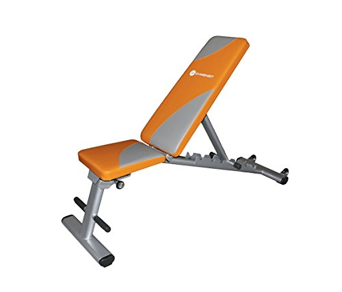 "GEB-110 Gymenist Exercise Bench Foldable Can Be Used 7 Different Angles Positions, Can Be Folded Flat for Storage ""No Assembly Needed"", Orange"