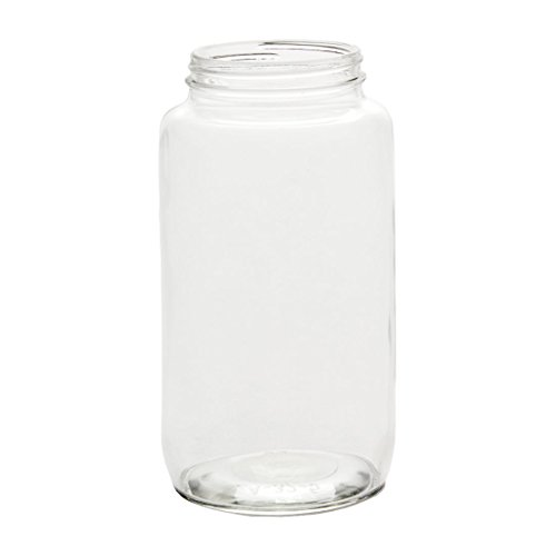 North Mountain Supply 32 Ounce Glass Hi-Shoulder Straight Sided Quart Regular Mouth Mason Canning Jars - With Black Safety Button Lids - Case of 12 ()