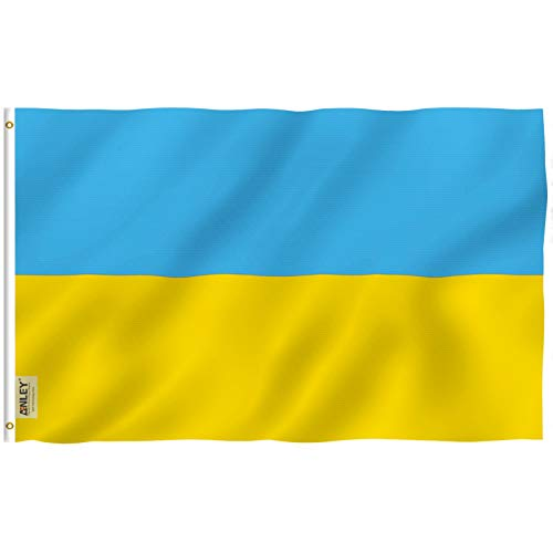 Anley Fly Breeze 3x5 Foot Ukraine Flag - Vivid Color and UV Fade Resistant - Canvas Header and Double Stitched - Ukrainian National Flags Polyester with Brass Grommets 3 X 5 Ft