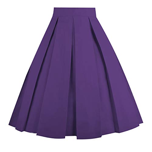 (Dresstore Vintage Pleated Skirt Floral A-line Printed Midi Skirts with Pockets Purple-M )