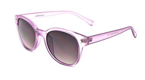 Dollhouse Women's Round Sunglasses, Clear Matte Purple Frame, APG Smoke Lens, - Dollhouse Sunglasses