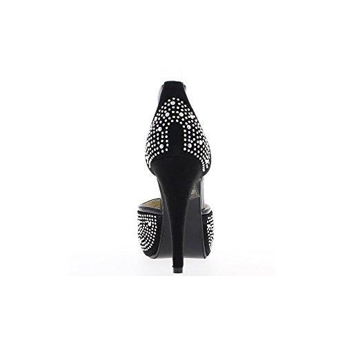 Escarpins femme ouverts noirs à talons de 12cm et plateau