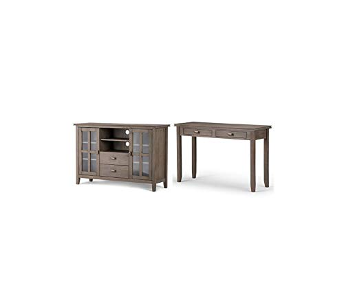 Wood & Style Deluxe Premium Collection Home Artisan Console Sofa Table Distressed Grey + Simpli Home Artisan TV Media Stand for TVs up to 60