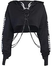 Vrouwen Halloween Hoodies Lange Mouwen Casual Crop Tops Trekkoord Sweatshirt, Visgraten Afdrukken