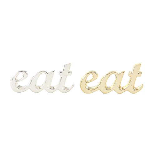Benzara Delightful Aluminium Eat Sign In Gold And Silver, 2 Assortment