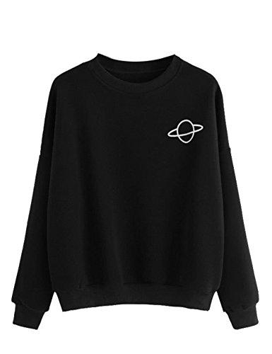 MAKEMECHIC Women's Long Sleeve Graphic Print Casual Pullover Crop Sweatshirt Black M