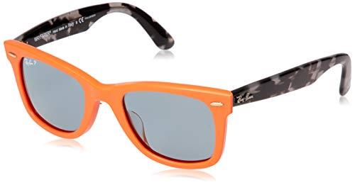 Ray-Ban RB2140F Wayfarer Asian Fit Sunglasses, Orange/Polarized Blue, 52 ()