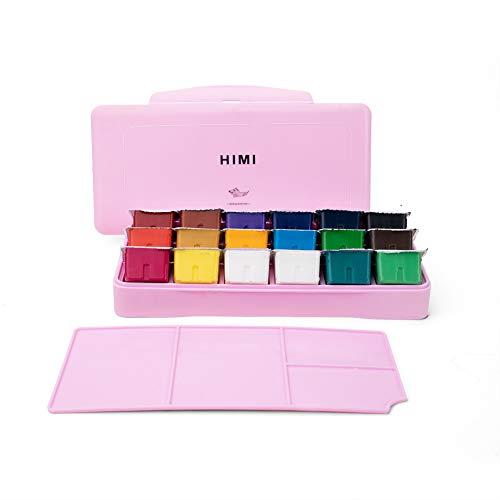 HIMI Gouache Paint Set 18 Colors (30ml/Pc) Paint Set Unique Jelly Cup Design Non Toxic Paints for Artist, Hobby Painters…